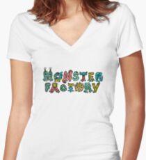 Monster Factory Logo Women's Fitted V-Neck T-Shirt