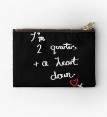 Two Quarters and a Heart Down Studio Pouch