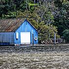 Blue boat shed. by Ian Ramsay