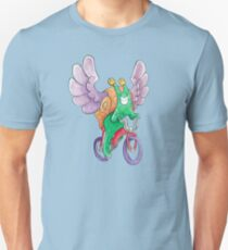 The Flying Snail Brings Happiness on a Bicycle Unisex T-Shirt