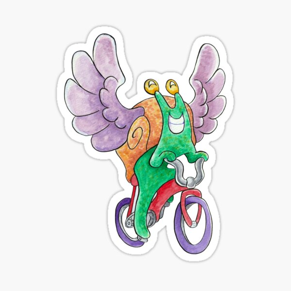 The Flying Snail Brings Happiness on a Bicycle Sticker