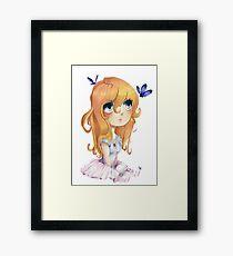 Sweet anime chibi Framed Print