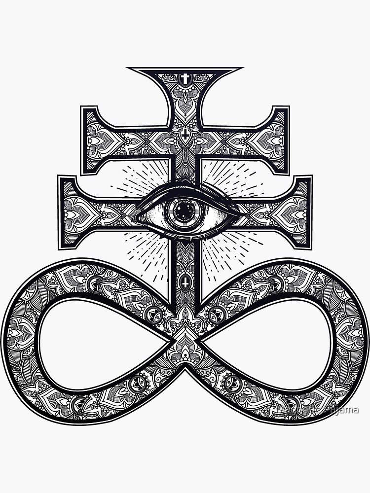 Paisley Satanic Cross with All-Seeing Eye by MagneticMama