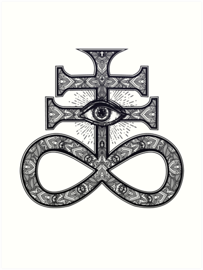 Paisley Satanic Cross With All Seeing Eye Art Prints By