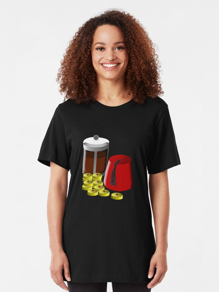 Alternate view of I'm going to need... a pot of coffee, 12 jammie dodgers, and a fez Slim Fit T-Shirt