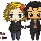 The 100 Bellamy Blake and Clarke Griffin Chibi Art-Time Jump Bellarke by Evelyn Ulrich