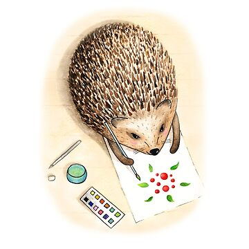 Hedgehog paint with watercolor by AllaRi