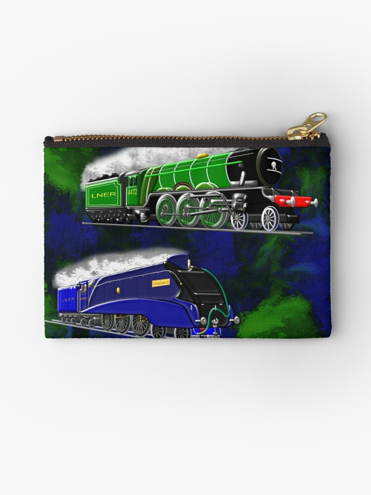 'Steam Locomotives including winner of the fastest steam locomotive' Zipper  Pouch by Dennis Melling