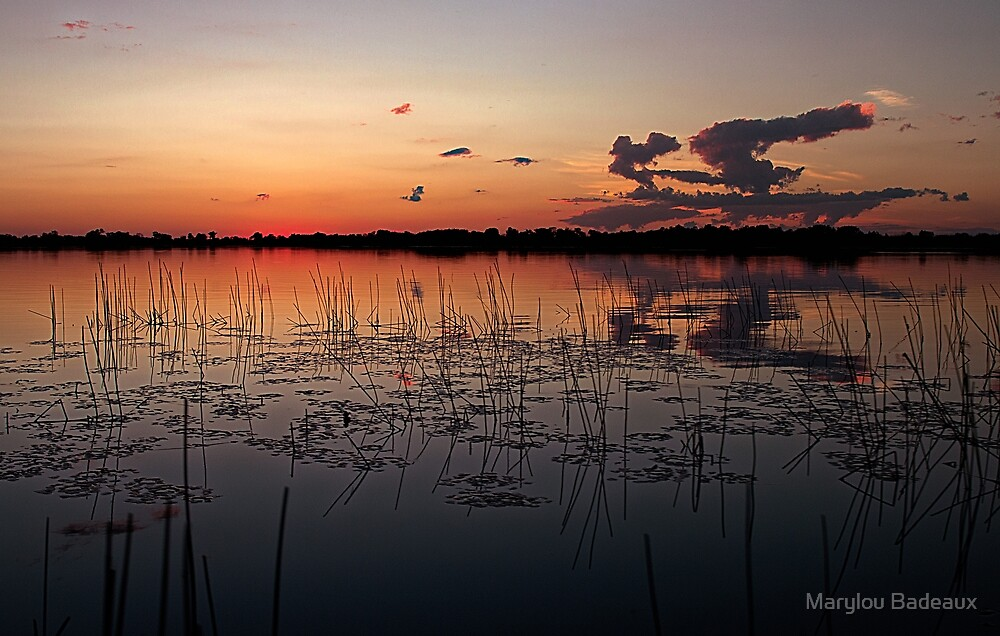 Sunset over African Delta by Marylou Badeaux