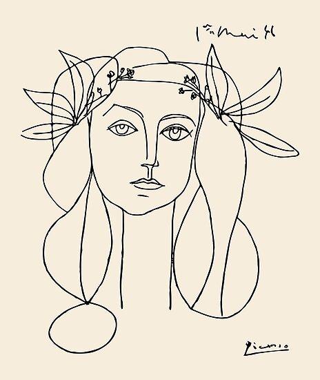 Picasso-Kopf eines Frauen gerahmten Druckes von eddycasanta