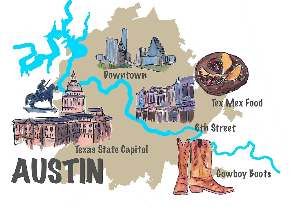 Austin Texas Karte.Austin Texas Map With Sightseeing Highlights By Artshop77 Redbubble