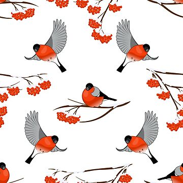 Christmas bullfinches and branch of rowan by TpuPyku