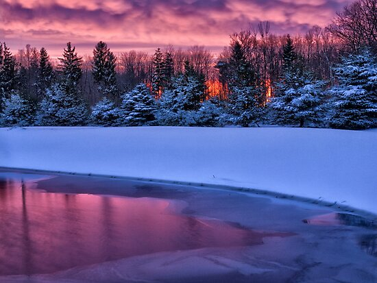 Winter Sunset - Erie, PA by Kathy Weaver