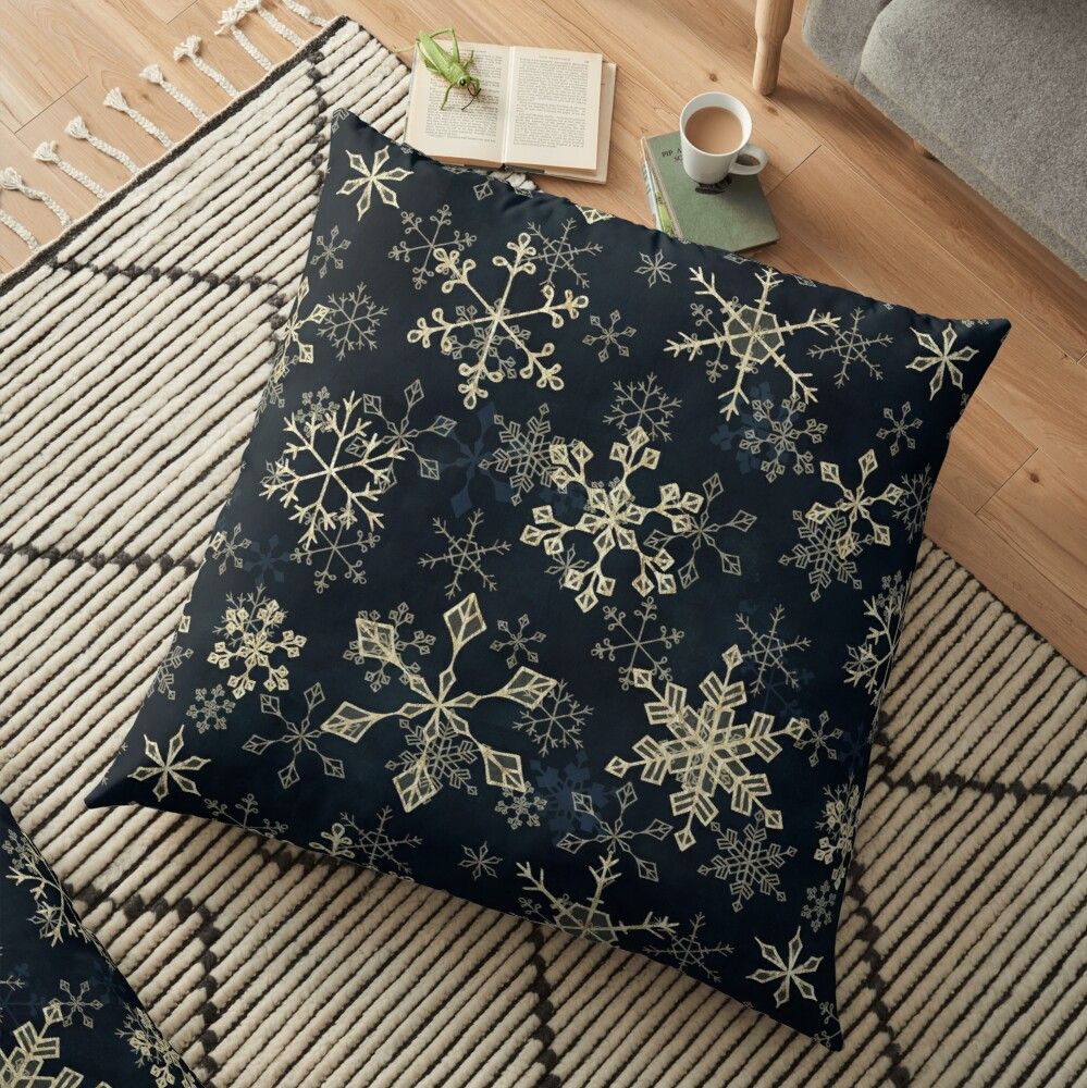 Snowflake Crystals in Gold Floor Pillow