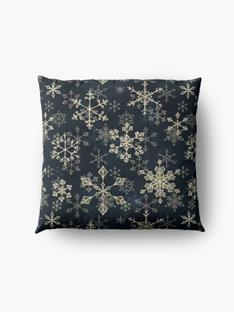 Alternate view of Snowflake Crystals in Gold Floor Pillow