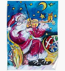INSPIRED SANTA PLAYING VIOLIN  WITH OWL Christmas Collection Poster