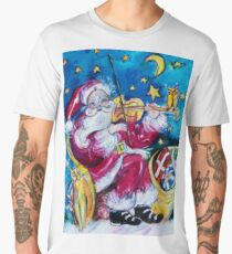INSPIRED SANTA PLAYING VIOLIN  WITH OWL Christmas Collection Men's Premium T-Shirt