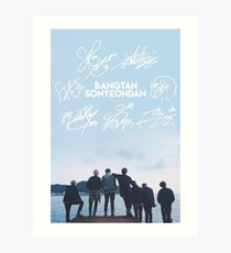 BTS Signature light blue Edit [READ DESCRIPTION] Art Print