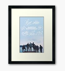 BTS Signature light blue Edit [READ DESCRIPTION] Framed Print
