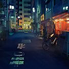 Neo Tokyo - Quiet street in Shinjuku by Guillaume Marcotte