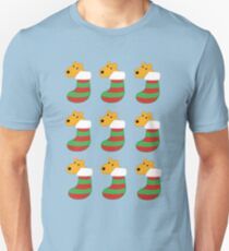 Cartoon Airedale Terrier Dogs in Christmas Stockings  Unisex T-Shirt