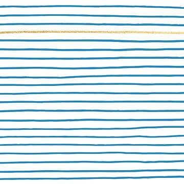 Blue French Paris Stripe Pattern with Gold by evannave