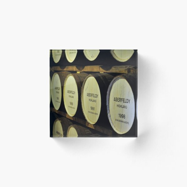 Whisky barrels at a distillery in the highlands of Scotland Acrylic Block