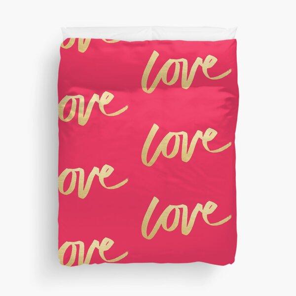 Love Gold Pink  Duvet Cover