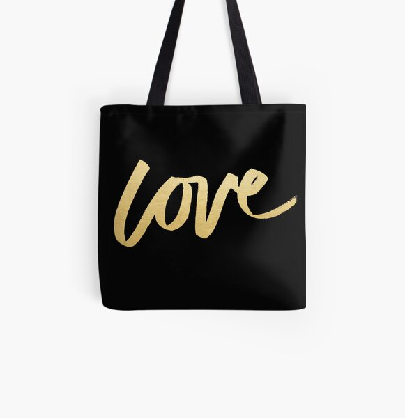 Love Gold Black Typography All Over Print Tote Bag