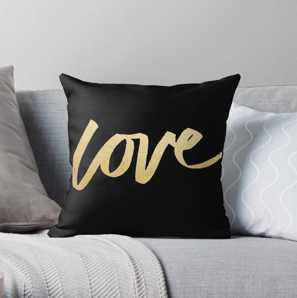 Love Gold Black Typography Throw Pillow