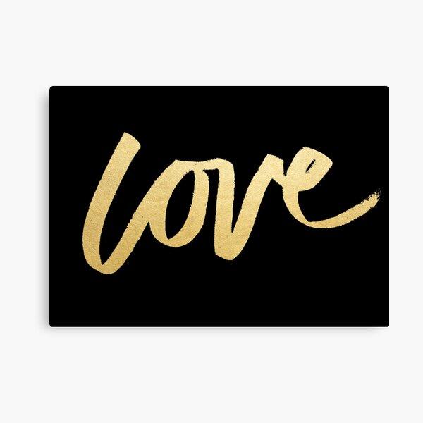 Love Gold Black Typography Canvas Print