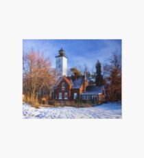 Winter at Presque Isle Lighthouse - Erie, PA Art Board