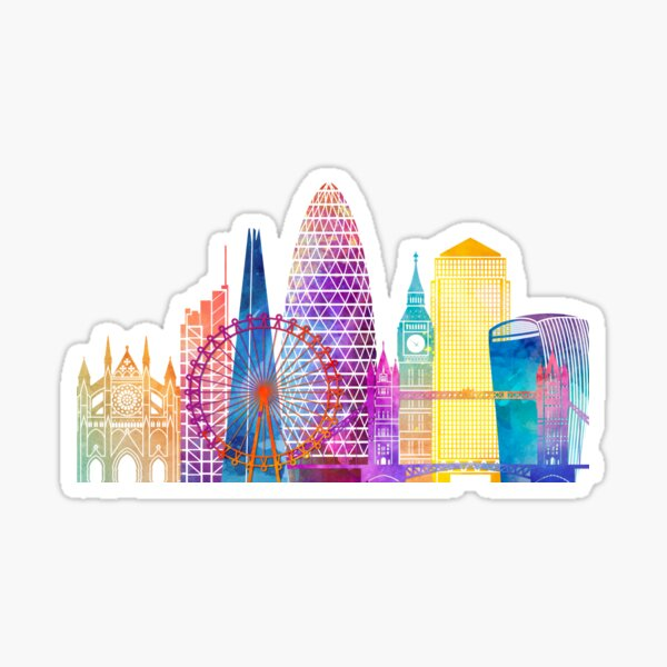 London landmarks watercolor poster Sticker