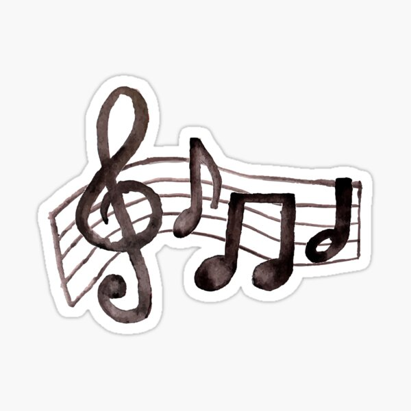 Watercolor Music Notes Sticker
