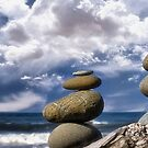 Cairns and Clouds by Kathy Weaver