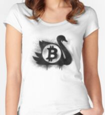 Bitcoin Black Swan Graffiti spray stencil Women's Fitted Scoop T-Shirt