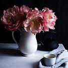 Moody coral peonies & tea by Cristina Colli