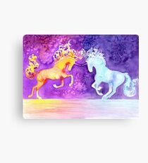 Fire and Ice Unicorn Fight Watercolor Painting Canvas Print