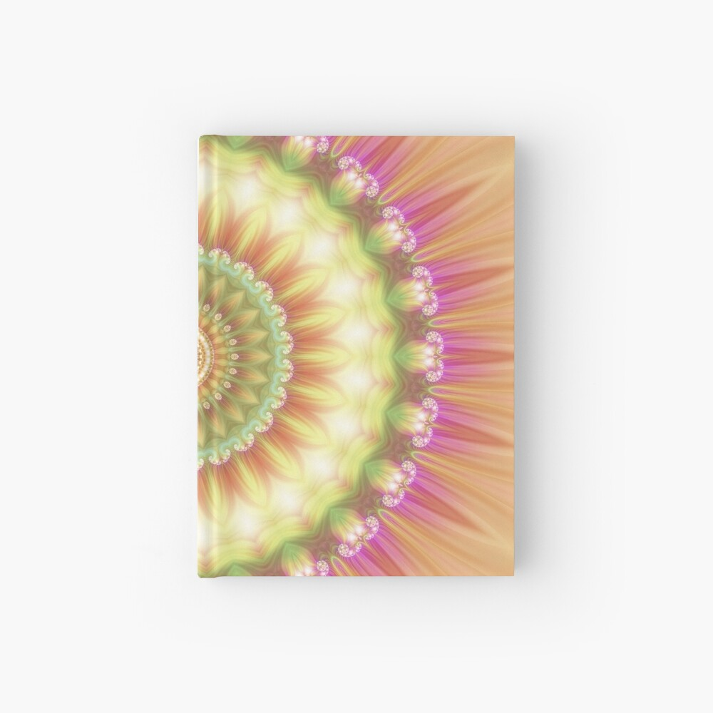 Beauty Mandala 01 in Pink, Yellow, Green and White Hardcover Journal