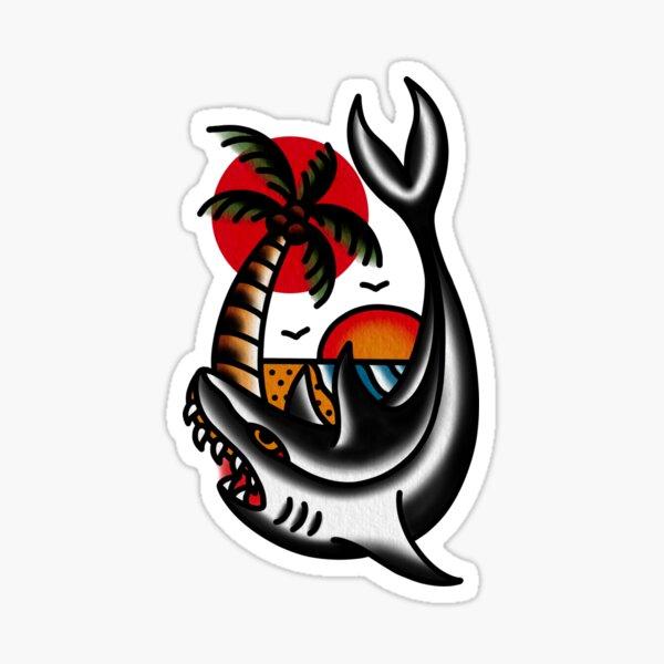 Traditional Shark and Beach Tattoo Piece Sticker