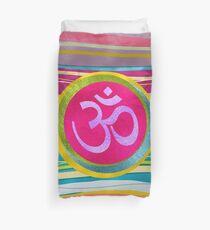 Colorfull Glitter OM symbol on  Pattern Duvet Cover