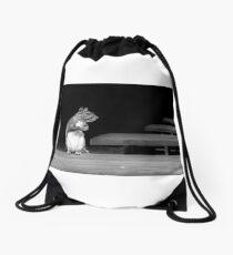 Squirrel Black White  Drawstring Bag