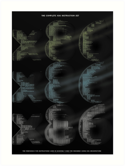 X86 Instruction Set Art Prints By Lessonhacker Redbubble