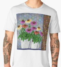 Coneflowers in Clay Pots Men's Premium T-Shirt