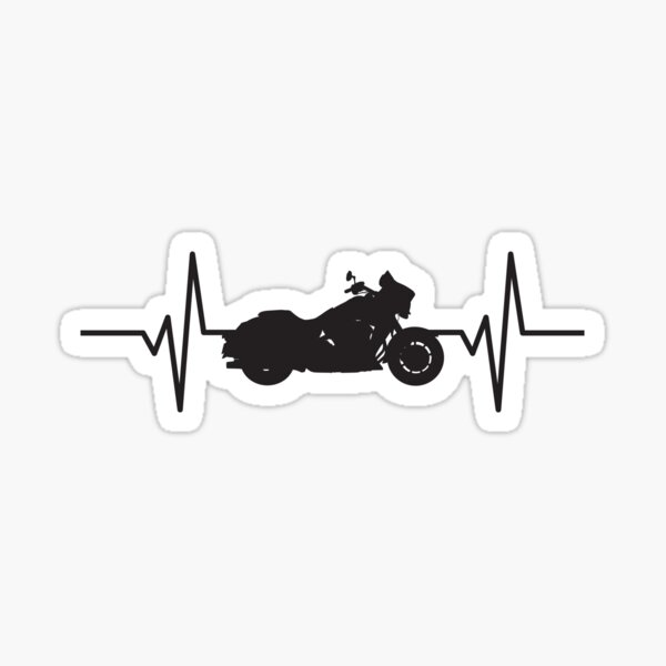 Heartbeat / Pulse - Cruiser Motorcycle  Sticker