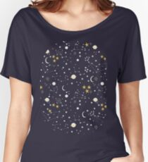 cosmos, moon and stars. Astronomy pattern Women's Relaxed Fit T-Shirt