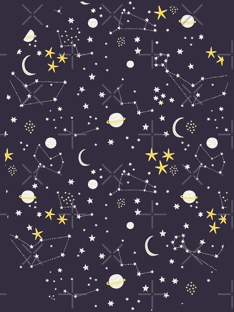 Galaxy - cosmos, moon and stars. Astronomy pattern. Cute cartoon universe design. by kostolom3000