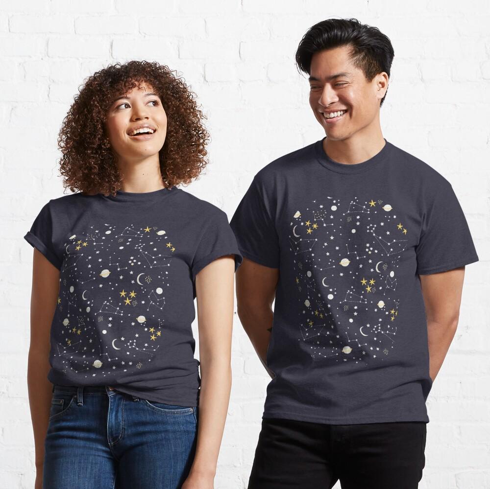 Galaxy - cosmos, moon and stars. Astronomy pattern. Cute cartoon universe design. Classic T-Shirt