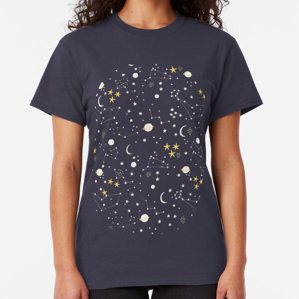 Galaxy - cosmos, moon and stars. Astronomy pattern. Cute cartoon universe design. Classic T-Shirt