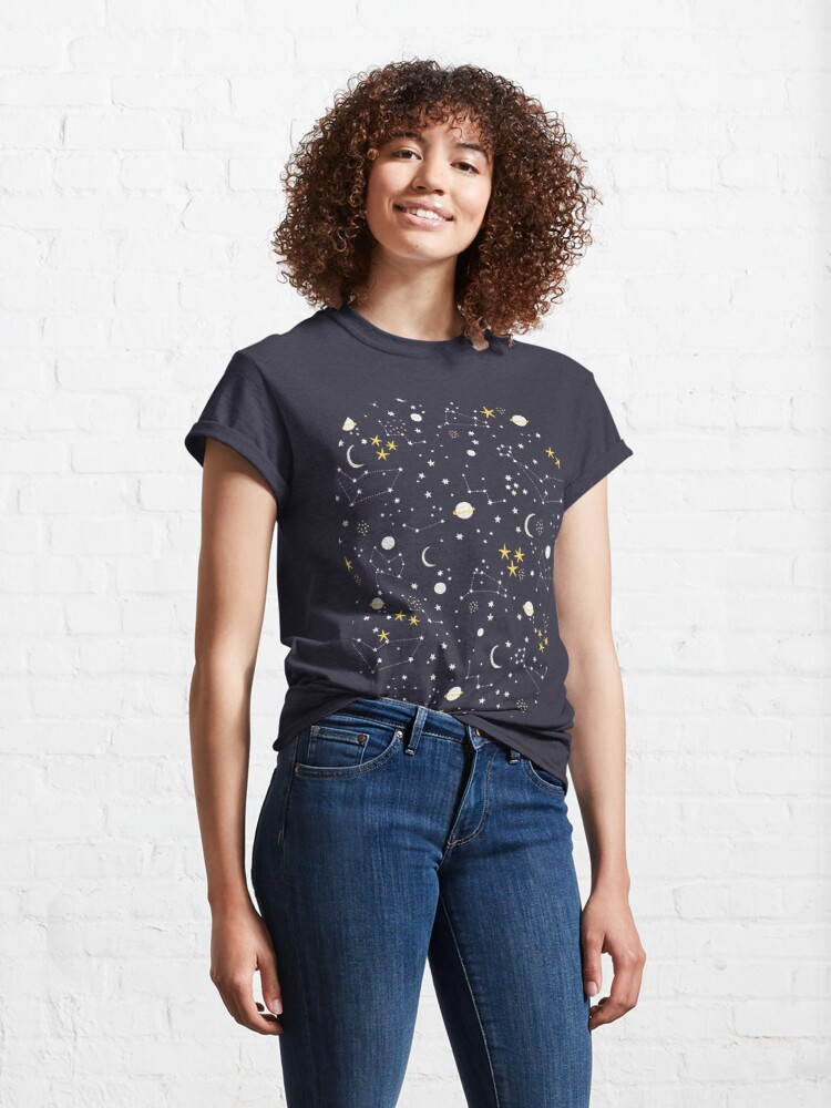 Alternate view of Galaxy - cosmos, moon and stars. Astronomy pattern. Cute cartoon universe design. Classic T-Shirt